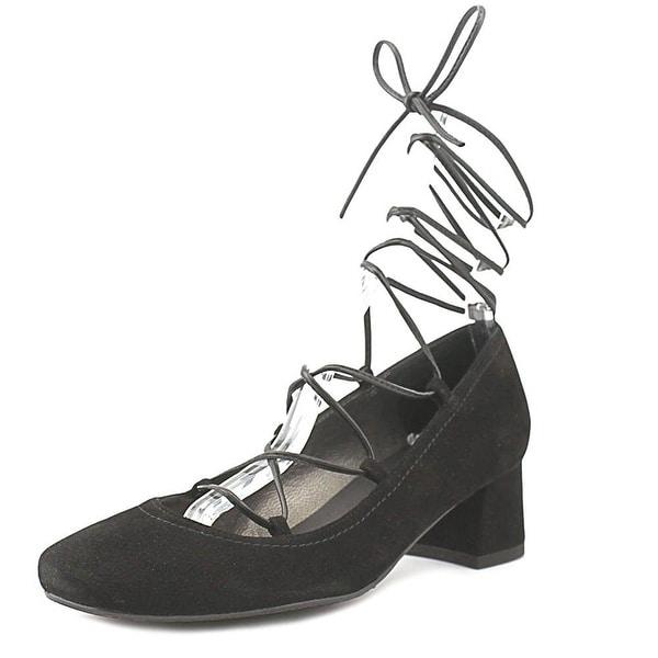 Stuart Weitzman Womens Cordon Suede Square Toe Special Occasion, Black, Size 7.5
