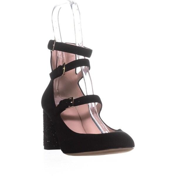 Kate Spade New York Anie Buckle Glitter Heels, Black/Kid Suede