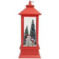 "10.5"" Snowmen with Trees Red LED Lighted Christmas Lantern Tabletop Decoration"