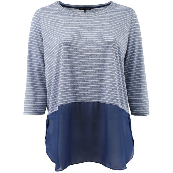 Women - Plus Size 3/4 Sleeve Striped Chiffon Bottom Top Blouse Knit Shirt Blue White