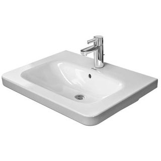"Duravit 2320650000 DuraStyle 25-5/8"" Ceramic Bathroom Sink for Vanity, Wall Mounted or Pedestal Installations with Single Faucet"