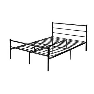 VECELO Platform Metal Full Bed Frame/Mattress Foundation with Headboard, Box Spring Replacement Full