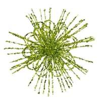 """8"""" Kiwi Green Glitter Flower Blossom Sequined Christmas Ornament"""