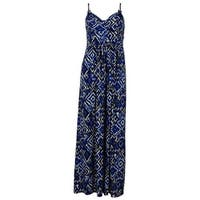 American Living Women's Beaded Spaghetti Strap Faux Wrap Front Bust Dress - blue/ikat - 4