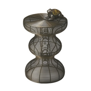 Offex Handcrafted Triple Decker Iron Accent Table in Metalwork Finish