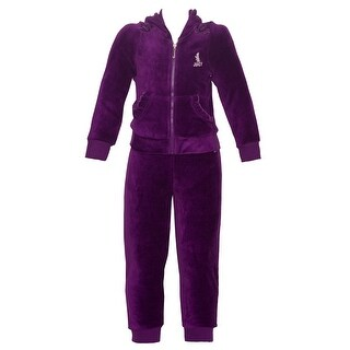 Juicy Couture Little Girls Plum Kangaroo Pocket Hooded 2 Pc Pant Outfit