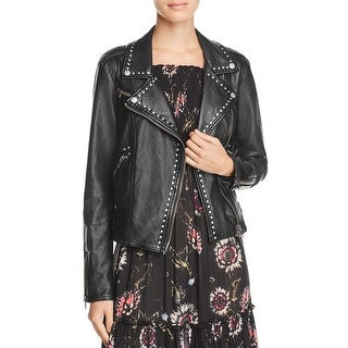 Free People Womens Motorcycle Jacket Faux Leather Studded