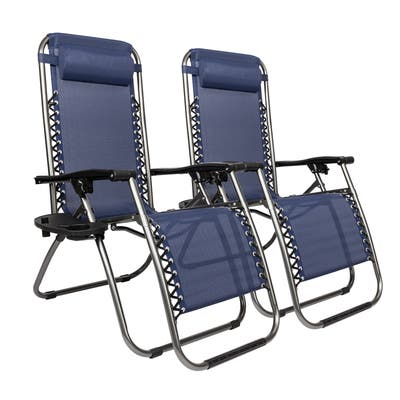 2Pcs Zero Gravity Lounge Chair Portable Folding Chairs with Saucer