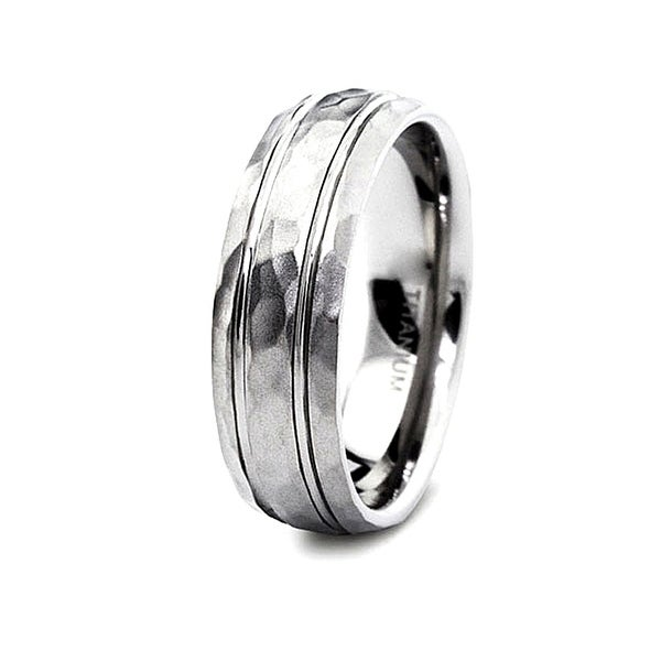 Grooved Hammered Finish Titanium Band 8mm (Sizes 8-13)
