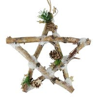 "9.75"" Small Rustic Snowy Wood Branch Star Christmas Ornament - brown"