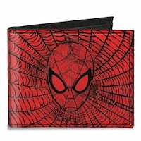 Ultimate Spider Man Spider Man Face Web Sketch Red Black Canvas Bi Fold Canvas Bi-Fold Wallet One Size - One Size Fits most