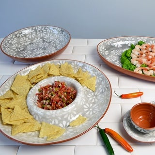 "Link to Euro Ceramica Margarida Grey/White Terra Cotta 14"" Chip and Dip Platter Similar Items in Serveware"