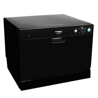 Koldfront PDW60E 22 Inch Wide 6 Place Setting Countertop Dishwasher with High Heat Dishwashing