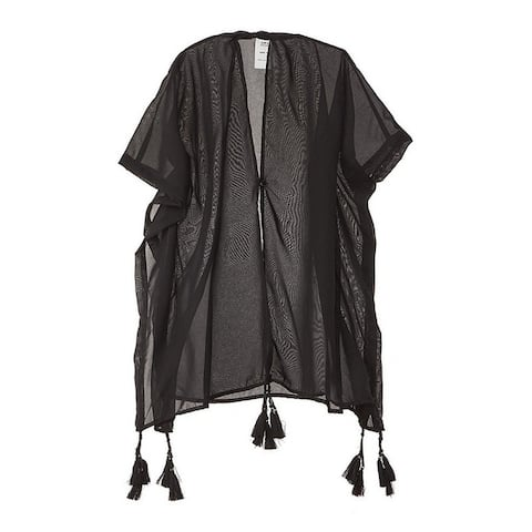 Azul Girls Black Solid Color Tassel Adorned Kimono Cover-Up - 12/14