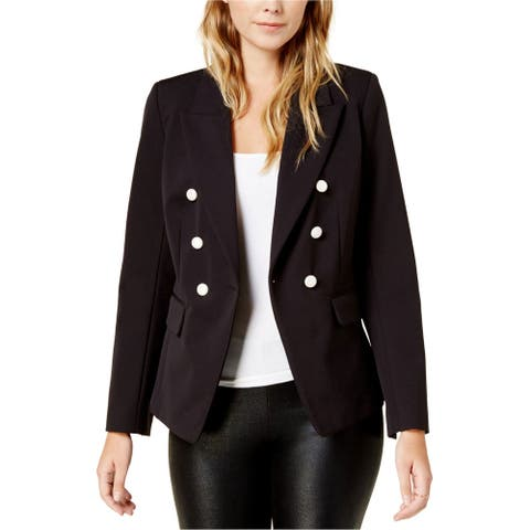 Kensie Womens Double-Breasted One Button Blazer Jacket, Black, X-Small