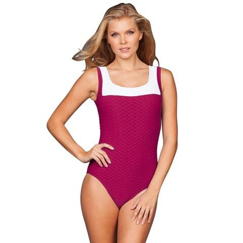 Paula Beachwear Raspberry Color Block Swordfish One Piece Swimsuit - Pink