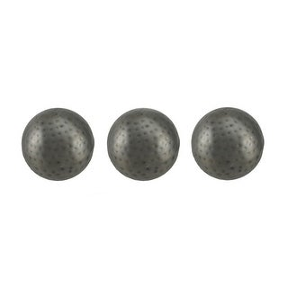 3 Piece Antique Silver Finish Dimpled Metal Decor Ball Set 4 Inch - 3.75 X 3.75 X 3.75 inches
