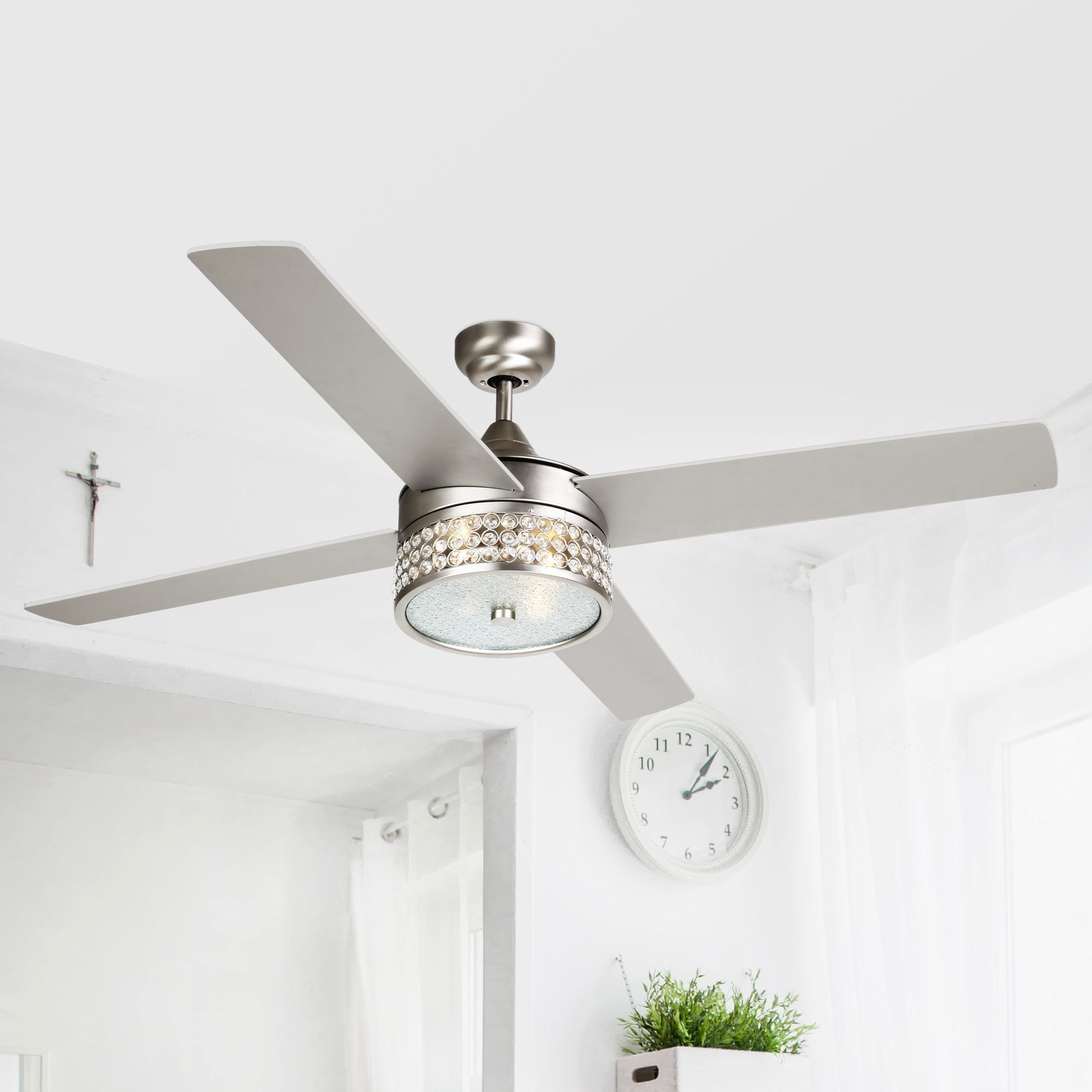 52 Inch Satin Nickel 4 Blades Crystal Ceiling Fan With Light Kit 52 On Sale Overstock 23388371