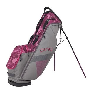 New Ping 2018 Hoofer Lite Golf Stand Bag (Silver / Magenta Bloom) - silver / magenta bloom