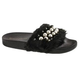Wild Diva Matty-04A Women's Embellished Pearl Faux Fur Platform Wedge Slide Sandal