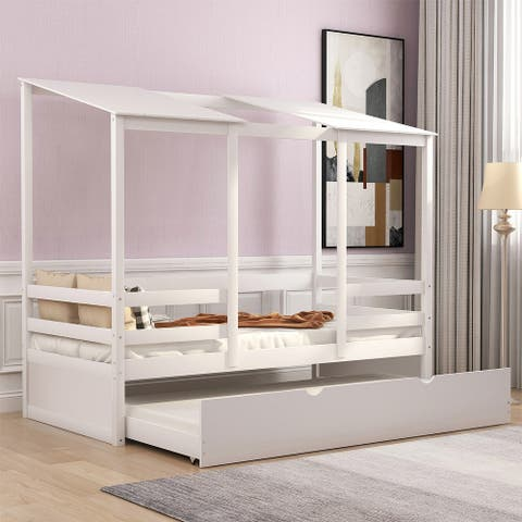 Merax Twin House Bed Daybed with a Trundle