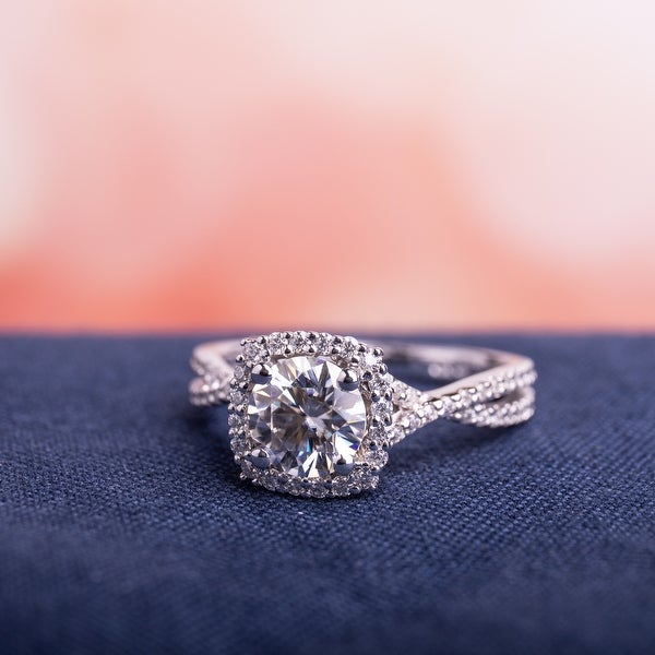 Miadora 1 1/2ct DEW Moissanite Halo Crossover Engagement Ring in 10k White Gold. Opens flyout.