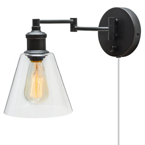 Globe Electric 65311 LeClair Single Light Swing Arm Wall Sconce with Clear Glass Shade and Canopy On / Off Switch