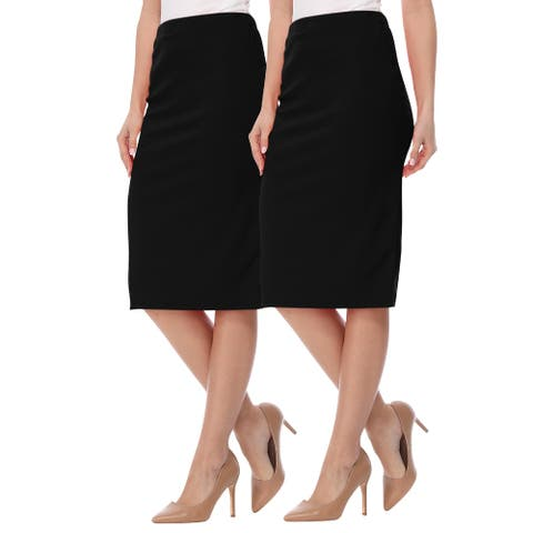 Women's Casual Solid High Waist Pencil Skirt (Pack of 2) Made in USA