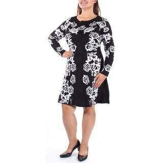 INC $109 Womens 1508 Black Long Sleeve Jewel Neck Fit + Flare Dress XL B+B