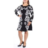 INC Womens Black Long Sleeve Jewel Neck Above The Knee Fit + Flare Dress  Size: XL