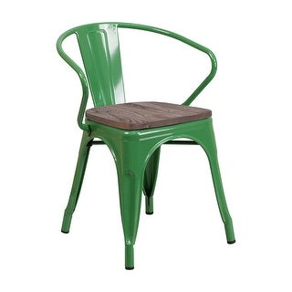 Offex Green Metal Stackable Bistro Style Chair with Wood Seat and Arms - N/A