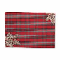 """Set of 2 Christmas Snowflakes Red, Green and Silver Plaid Decorative Placemats 19"""""""