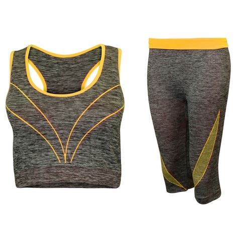 2-Piece Sports Bra & Capri Leggings Set, Multiple Colors