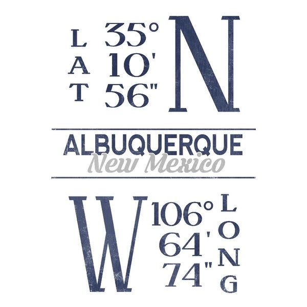 shop albuquerque new mexico latitude longitude blue lantern press artwork art print multiple sizes available overstock 27927107 overstock com