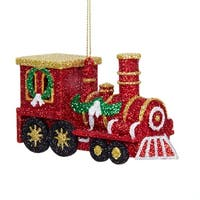 "Club Pack of 24 Red and Gold Glittered Train Christmas Ornaments 2.75""H - green"
