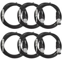 "Seismic Audio SEISMIC 6 PACK Black 1/4"" TRS  XLR Male 6' Patch Cables"