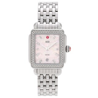 Michele Women's MWW06T000078 'Deco' Stainless Steel 3/4 CT TDW Diamond Link Watch - Silver