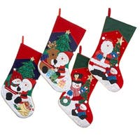 """Pack of 8 Embroidered Santa, Snowman and Reindeer Christmas Stockings 19"""" - multi"""