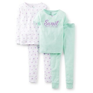 Carter's Little Girls' 4 Piece Cotton Pajama Set- Sweet Dreams- 3T