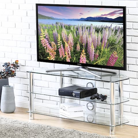 FITUEYES Classic Corner Glass Floor TV Stand with Cable Management