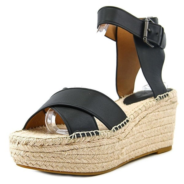 Coach Primrose Soft Women Open Toe Leather Black Wedge Sandal