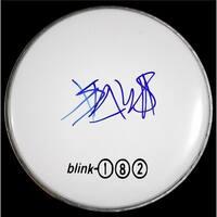 Travis Barker Drum Head with Blink182 Logo Sticker Autographed Photo