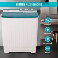 DELLA 9KG Mini Compact Twin Tub Portable Washer Spin Dryer Cycle Built-In Pump Washing Machine
