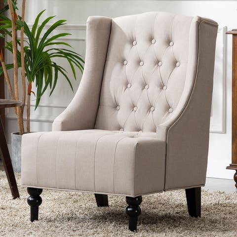 Ryan Diamond Button-Tufted Wingback Accent Chair