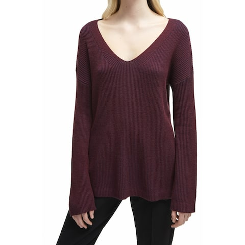 French Connection Purple Women's Large L Ribbed V-Neck Tunic Top