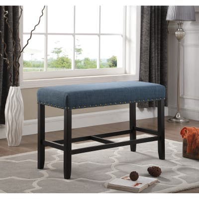 """Biony Blue Fabric Pub-Height 25.5"""" Dining Bench with Nailhead Trim"""