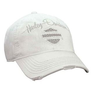Harley-Davidson Women's Studded Blank Bar & Shield Baseball Cap, White BC21500