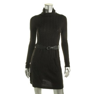 BCX Womens Juniors Cable Knit Cowl-Neck Sweaterdress