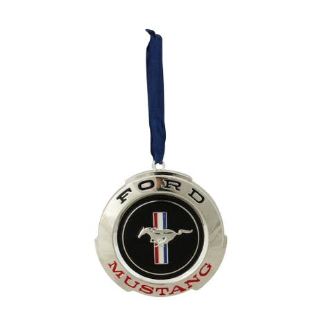 "3"" Silver Plated Ford Mustang GT Christmas Ornament"