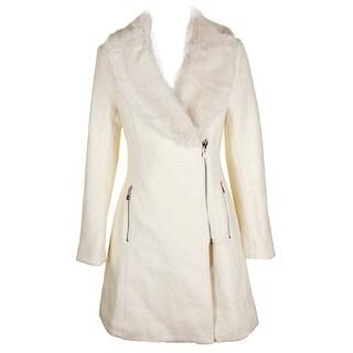 Inc International Concepts Ivory Faux-Fur-Trim Asymmetrical Walker Coat XS